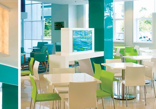 We also have a wonderful cafeteria for you to relax and enjoy your meal.